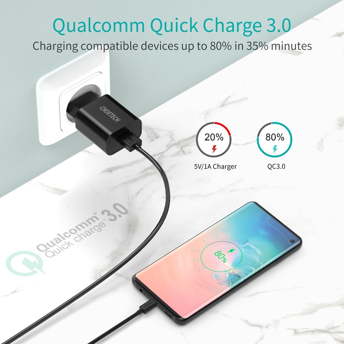 CHOETECH Quick Charge 3.0 18W USB зарядно за стена за - Резервни части и аксесоари за мобилни телефони - Снимка 2