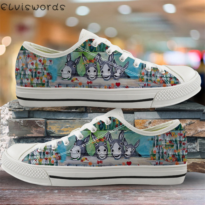 ELVISWORDS Donkey Family Low Top <font><b>Shoes</b></font> Fashion <font><b>Women</b></font> Canvas Vulcanized <font><b>Shoes</b></font> Spring Autumn Flats Sneakers for Students Girls image