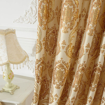 European-style Gold Pico-style Curtain-woven  Slit-out Curtain for Bedroom Ang for Living Room Blackout Curtains wholesale high precision european style jacquard curtain fabric for living room bedroom blackout thermal insulation curtain