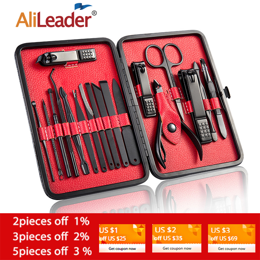 Alileader Wholesale Professional Carbon Steel Nail Clipper Kit Pedicure Scissors Tweezer Knife Ear Pick Manicure Trimmer