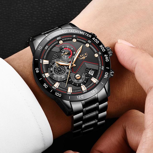 2020 LIGE Fashion Mens Watches Stainless Steel Top Brand Luxury Sport Chronograph Quartz Watch Men Black Watch Relogio Masculino