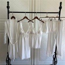 Sleepwear Kimono Nightwear Bathrobe Women Lingerie Gown Lace Silky 5PCS Patchwork Intimate