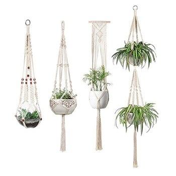 Decoración de jardín Vintage macramé para planta de maceta jardín titular piernas...