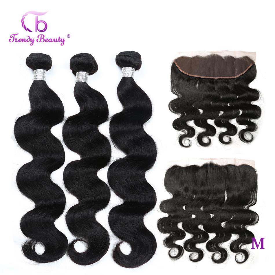 4pcs/lot Brazilian Body Wave Human Hair 3 Bundles With 13x4 Ear To Ear Lace Frontal Closure Non-Remy Free Ship Trendy Beauty