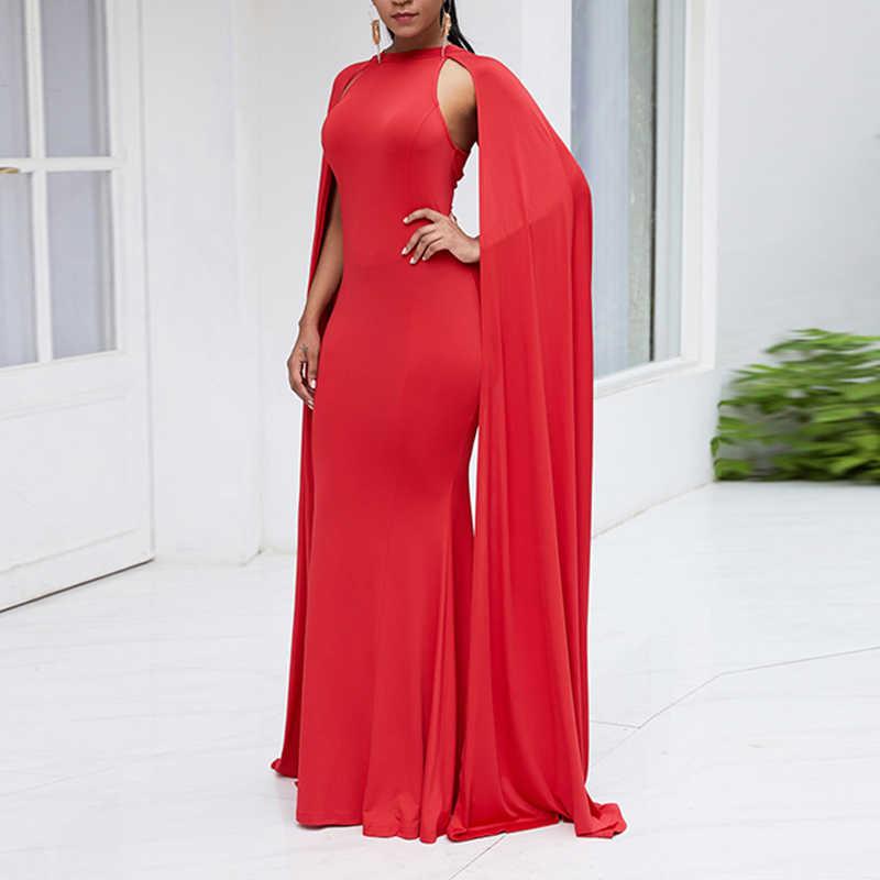 Cap Sleeve Bodycon akşam elbise kırmızı zarif parti balo elbise seksi kulübü kadın uzun elbise siyah katı kapalı omuz Mermaid elbise