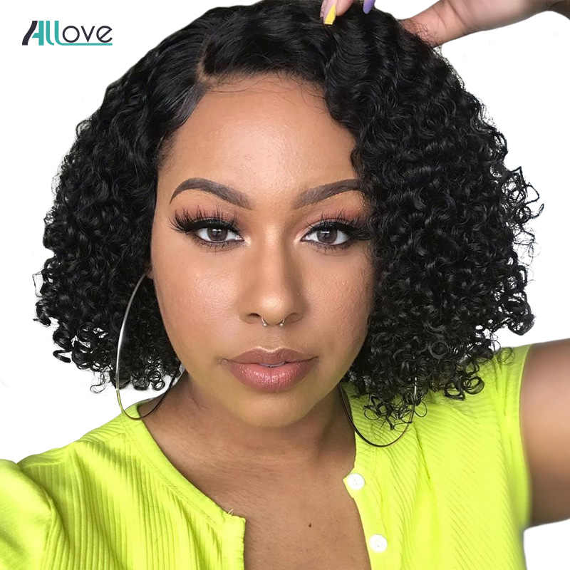 Allove Jerry Curly Lace Front Human Hair Wigs With Baby Hair Brazilian Remy Hair Short Curly Bob Wigs For Women Pre-Plucked Wig