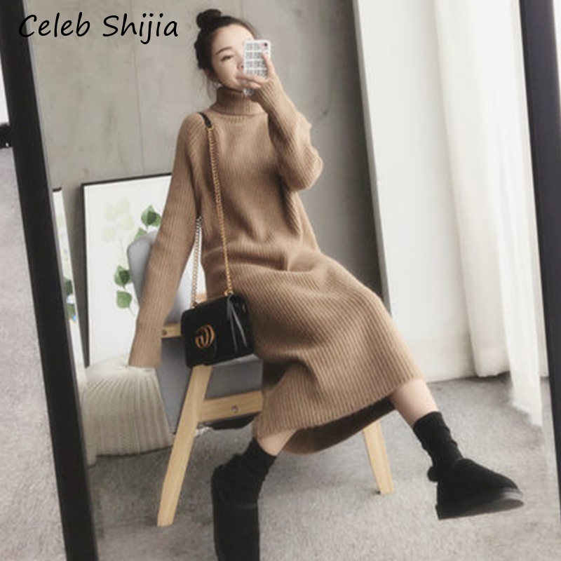 SHIJIA Autumn Thicken Long Sweater Dress Woman Turtleneck Super Chic Long-sleeve Warm Knit Dress Ladies 2019 Winter Clothing