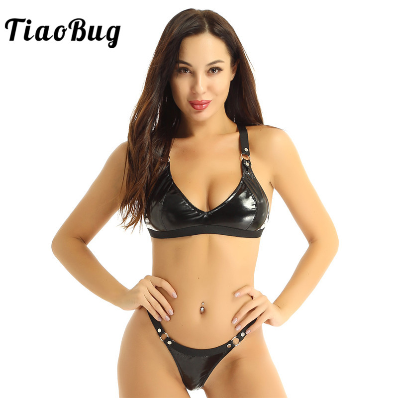 TiaoBug Women Sexy Bikini Set Black Patent Leather Lingerie Elastic Straps Bra Tops With Mini G-string Thong Swimsuit Underwear