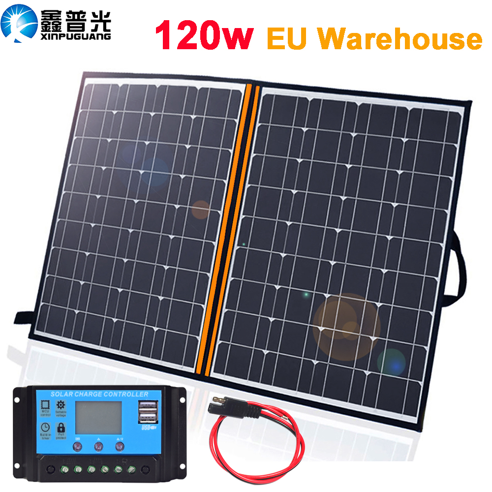 XINPUGUANG 100w Foldable Solar Panel 2 x 50w 12v Monocrystalline Solar Charger with 10A Controller for Camper Tent Outdoor Charging