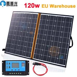 Image 1 - солнечная батарея на телефон панель 12v Складной набор солнечных панелей 100 Вт 120 Вт 150 Вт 12 В портативное солнечное зарядное устройство домашняя система 5 в USB телефон для RV Автомобиля Караван лодки