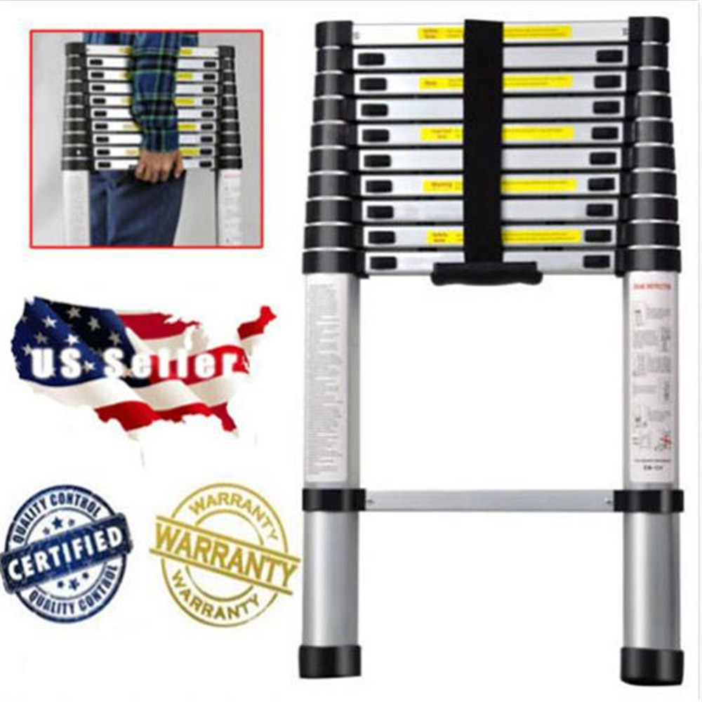 Single Side Extension  Aluminum Stretchable Ladder Black & Silver 3.2 M Extension Ladder Home Garden Tools