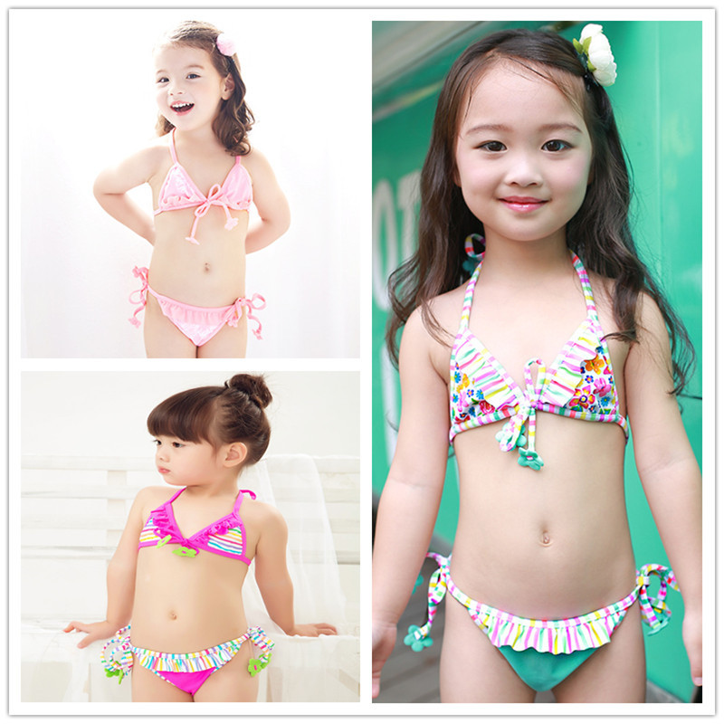 2020 KID'S Swimwear Small Children Baby Swimming Cute Flower Lace-up Bikini GIRL'S Split Swimsuit Combination