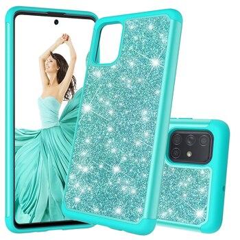 Funda para teléfono Samsung S20 S10 Note10 Plus A71 A51 A01 A50, carcasa de teléfono de doble capa a prueba de golpes con purpurina