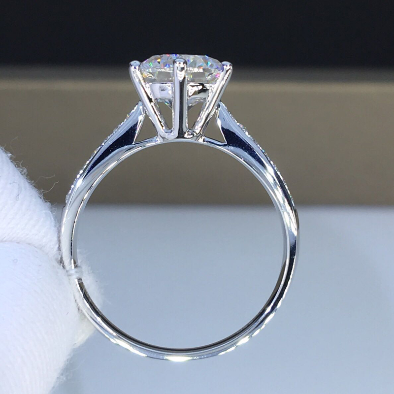Authentic Real 925 Sterling Silver Wedding Ring 6mm Cubic Zirconia Finger Rings For Women Ladies Engagement Fine Jewelry XY11