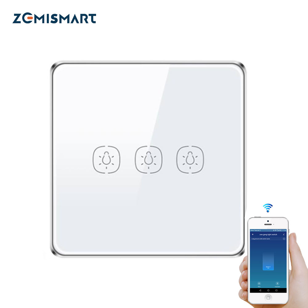 Wall Switch Work with Tuya Zigbee Hub Alexa Google Home Touch Light switches No neutral Wire 1 gang 2 3 gangs