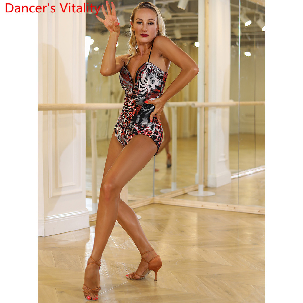 Latin Dance Women Adult Practice Top Bandage Body Suit Rumba Samba Tango Ballroom Dance Copetition Performance Training Garments