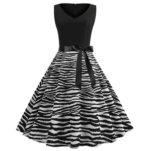 2XL Summer Women Elegant Vintage Midi Dresses Sexy Solid Patchwork A-line Vestidos Sleeveless Party Dress Plus Size Robe Femme