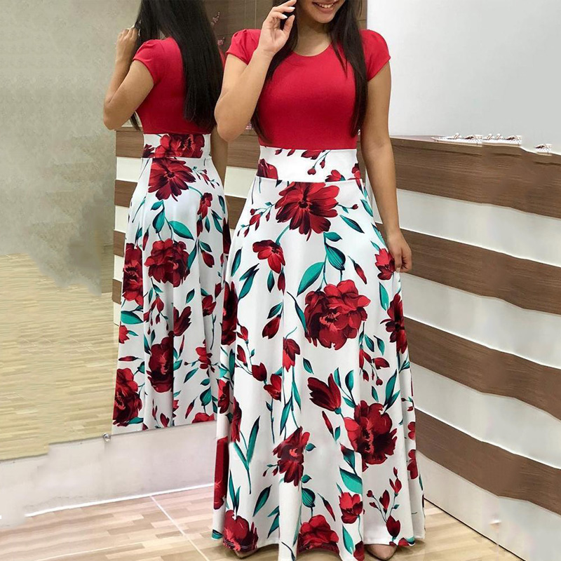 Vintage Floral Print O-Neck Long Dress Women Summer 2020 New Short Sleeve Robe Casual Elegant Lady Maxi Vestidos Plus Size S-5XL(China)