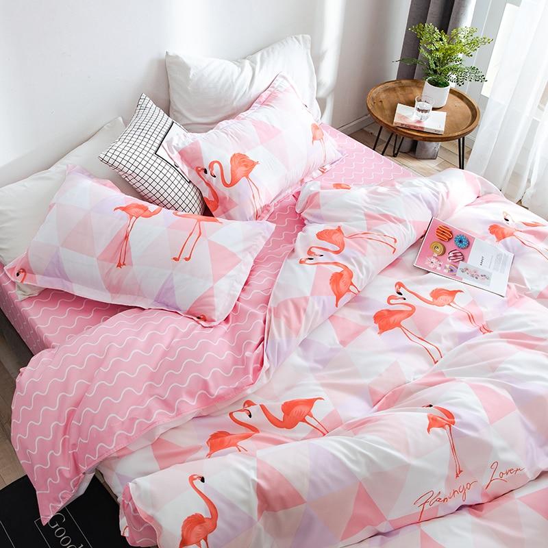 Style de bande dessinée ensemble de literie oiseau rose 4 pièces lit roi reine taille linge de lit taie d'oreiller housse de couette ensemble Textiles de maison literie # sw - 3