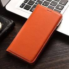 Luxurious Litchi Grain Genuine Leather Flip Cover Phone Skin Case For Sony Xperia X XA XA1 Z6 Plus Cell