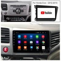 LEHX 2din Android 9 pollici 2GB Ram Autoradio Multimidia lettore Video navigazione unità principale GPS per HONDA CIVIC 2012 2013-2015