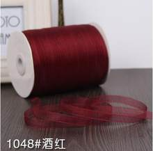 Chiffon 1cm Red wine Silk Organza Polyester Ribbon For Sewing Wedding Decoration Webbing Crafts Gift Packing Belt (10 Meters)(China)