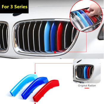 Car Front Grille Trim Strips Cover for BMW 3 Series E46 E90 E91 E92 E93 F30 F31 F34 M Power Performance Grill Accessories image