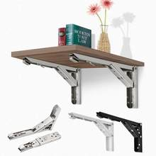 New 2pcs Triangular Folding Bracket Metal Release Catch Support Bench Table Folding Shelf Bracket Home HVR88()