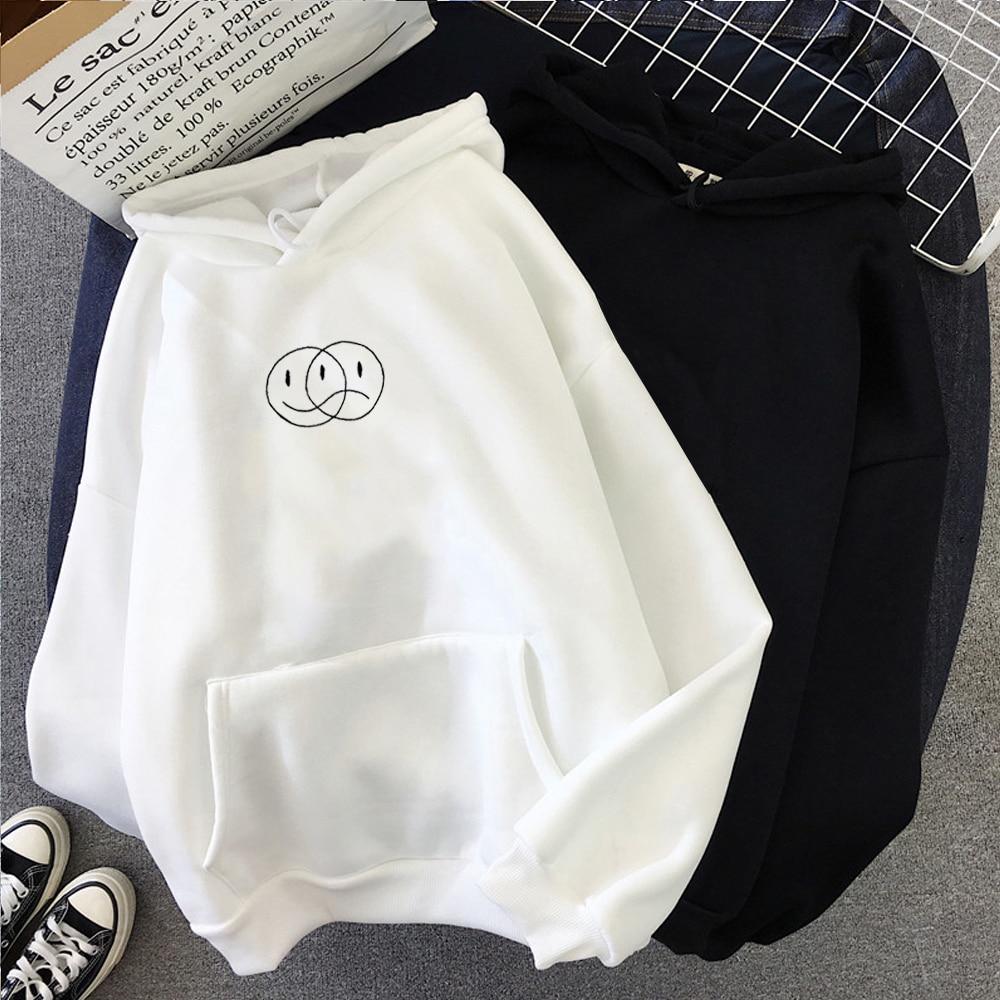Korean Streetwear Sweatshirt Men Women Casual Pullover Hip Hop Long Sleeve Smile Sad Face Line Print Hoodies Sportswear Tops 1