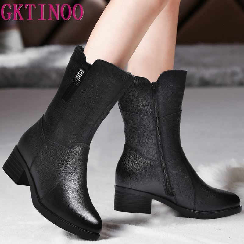 GKTINOO New Autumn Winter Mid-Calf  Women Boots Med Heels Warm Plush Genuine Leather Boots High Quality Knee High Boots