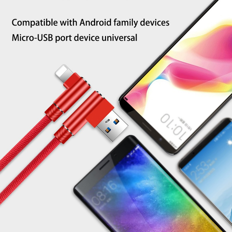 Durable Portable Type-C 5A Double Elbow Practical Red Data Cables Universal Phone Accessories For samsung huawei xiaomi iphone