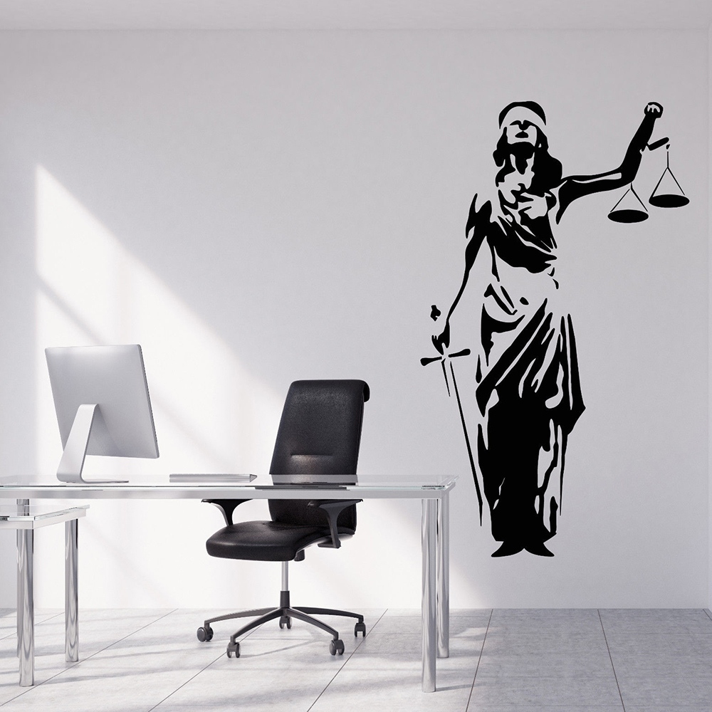Law Office Wall Decal Lady Justice Themis Court Of Justice Wall Stickers Vinyl Court Decor Home Room Decoration Poster X578