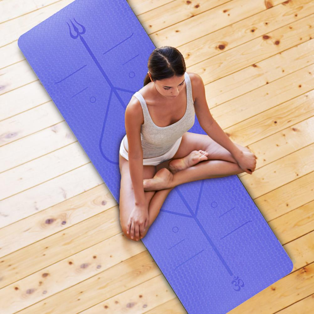 Non-Slip TPE Yoga Mat With Position Line 6