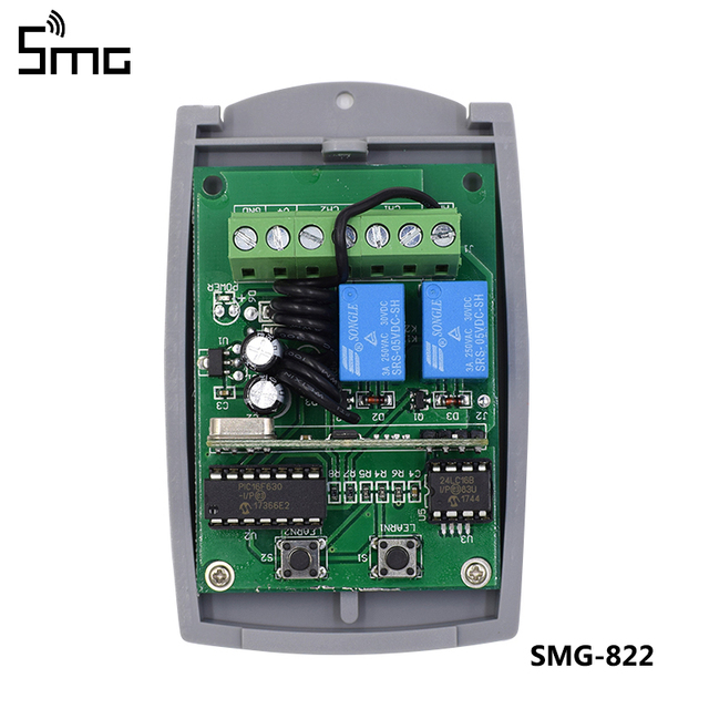 5pcs 2 Channel 12V 24V DC RF Receiver Rolling Code Transmitter Command Garage Gate Motor Receiver 433.92 mhz Wireless
