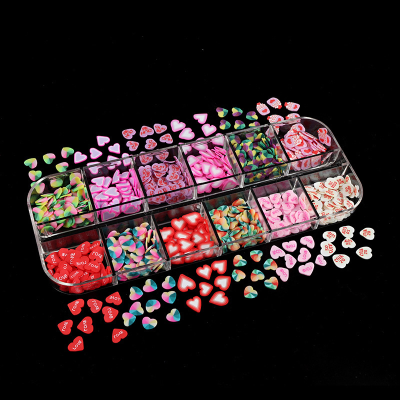 12 Grids/Set Mixed Soft Ceramic Nail Art with Love Hearts Valentine's Day Design Nail Art Sticky Polymer Decorative Accessories