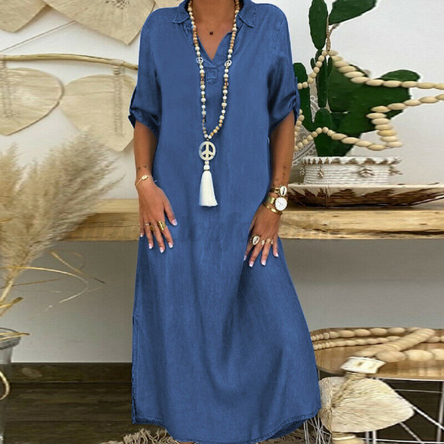Summer Denim Dress For Women 2021 Casual Spring Blue  V-Neck Half Sleeve Maxi Dresses Plus Size Split Long Dresses Vestidos 5XL 1