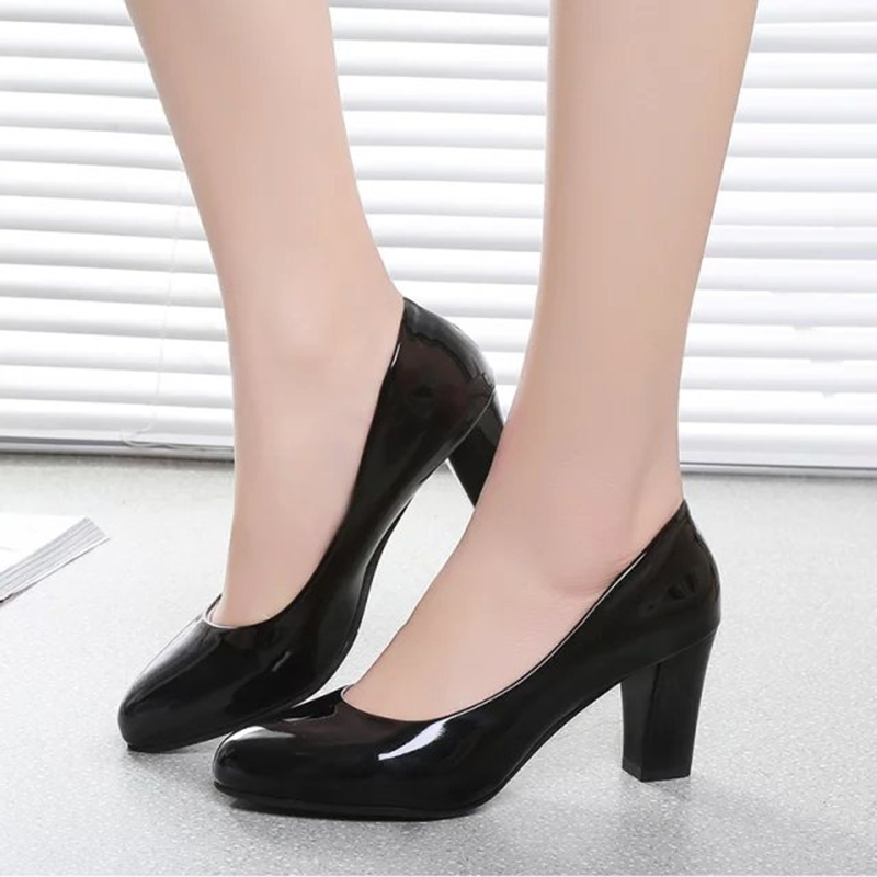 ZHENZHOU 7CM Professional Shallow Mouth Single Shoes Female With Round Head Slip Black Thick High Heel Ol Work Female Shoes