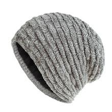 Nowy czapka zimowa mężczyźni Solid Color Knitting czapka beanie jesień zima ciepły wygodny kapelusz akcesoria zewnętrzne grube bawełniane czapki tanie tanio feitong Dla dorosłych COTTON Unisex Stałe Knitted Cotton Hat Na co dzień 29X25CM