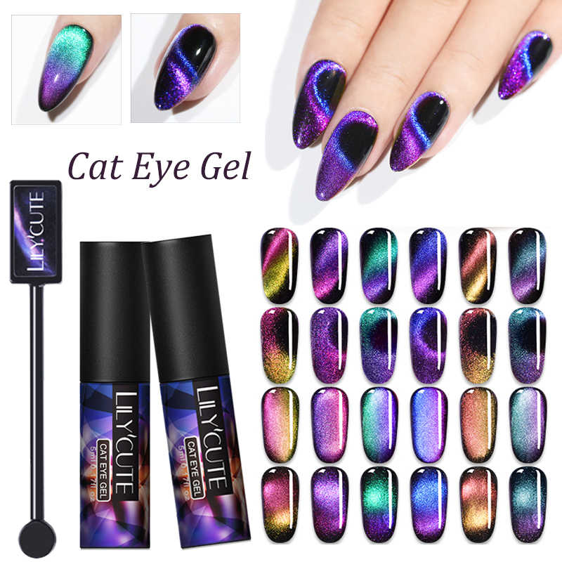 Lilycute 5 Ml Aurora Kuku Gel Polandia Bercahaya Cat Eye Uv Gel Menyala Dalam Gelap 3D Magnetic Glitter Rendam off Nail Gel Varnish