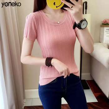 Summer Cotton T Shirt Women Solid Pink T Shirt Female Knitted Short Sleeve  O-Neck Elastic Basic T-shirt Women Fashion Style sexy style jewel neck solid color voile splicing half sleeve t shirt for women