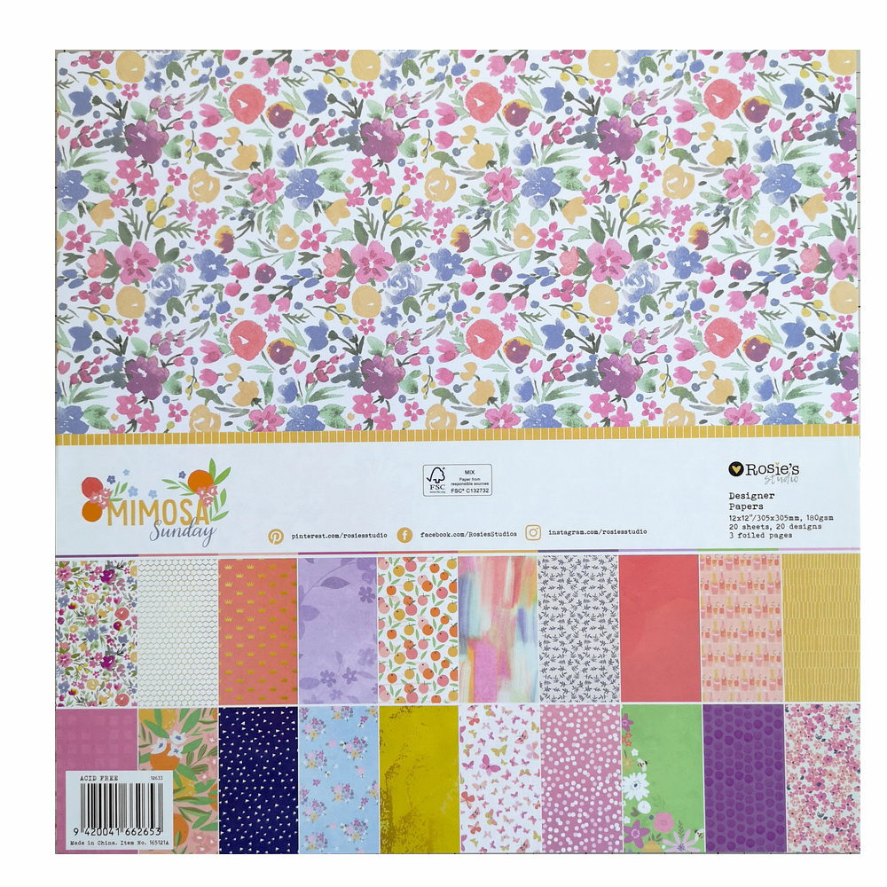 CRZCrafter Scrapbooking Paper 12 Inch Background Pattern Paper 20 Sheets Acid Free Decoration