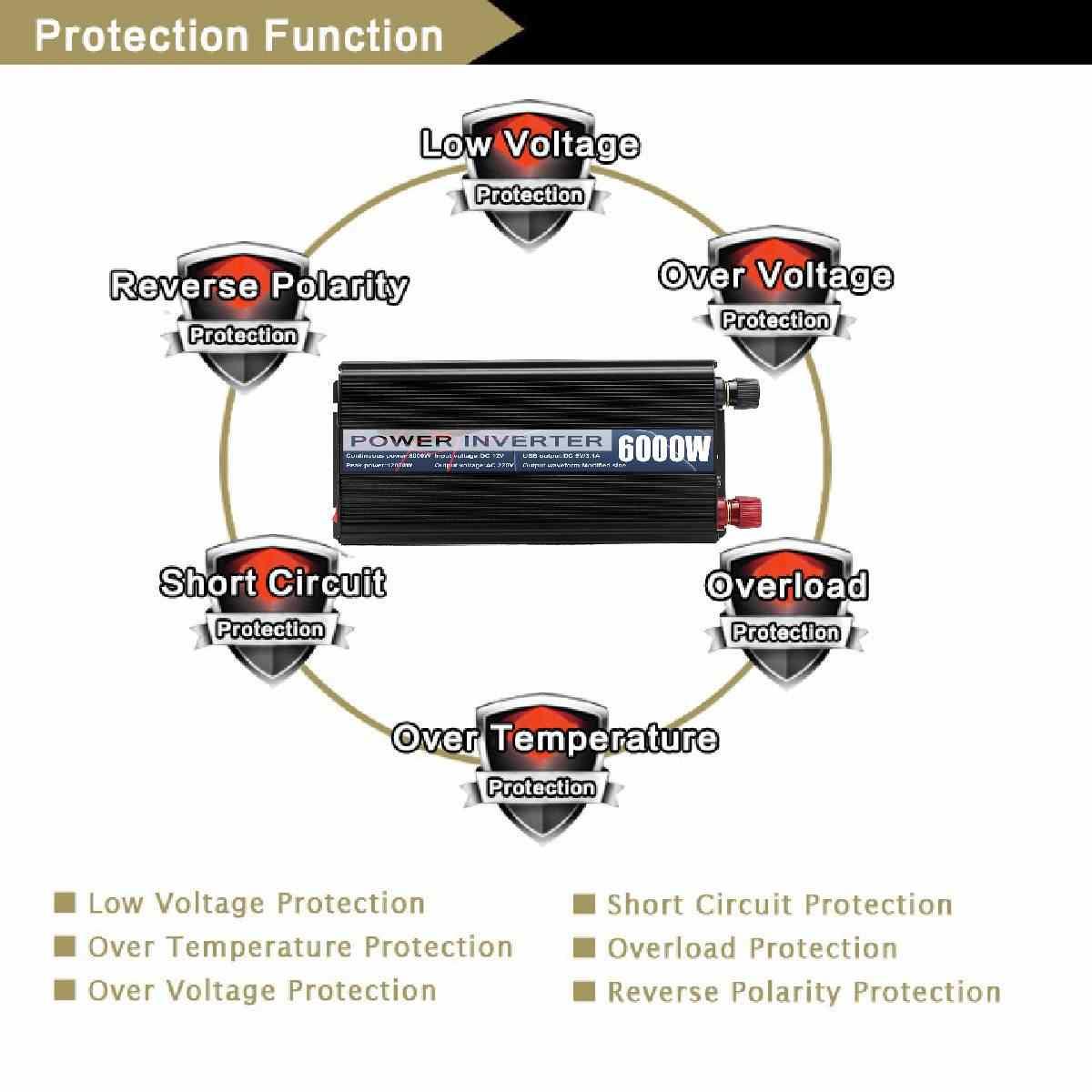 10000W Peaks falownik samochodowy 12V 220V 5000W wyświetlacz LED 2 USB zmodyfikowane fale sinusoidalne moc inwerter transformator napięcia