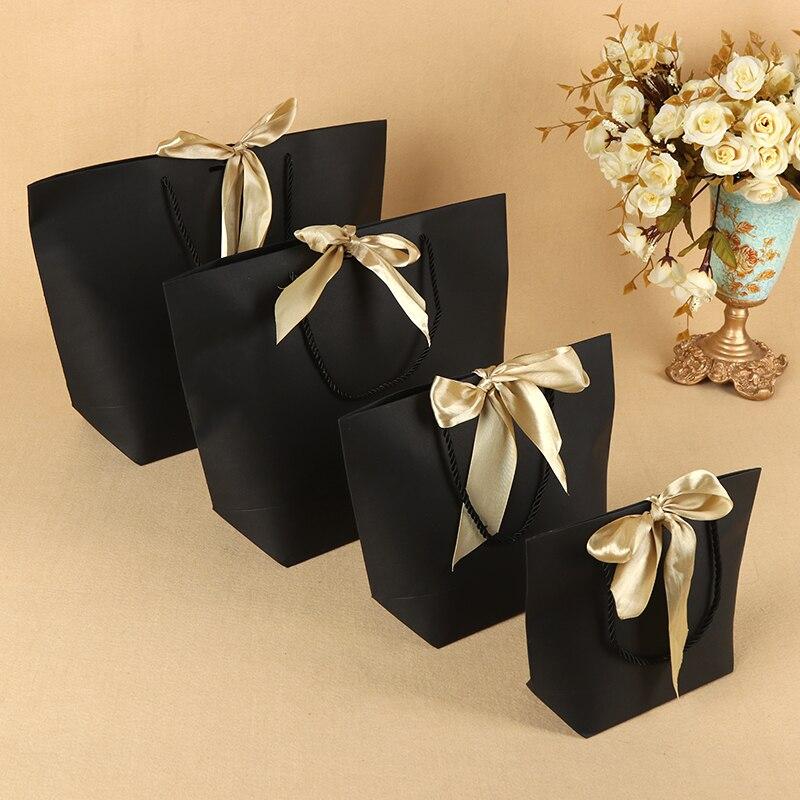 Большой размер Черный подарок коробка для пижам одежда книги упаковка золотая ручка бумажная коробка сумки Подарочный пакет из крафт бумаги с ручками - 2