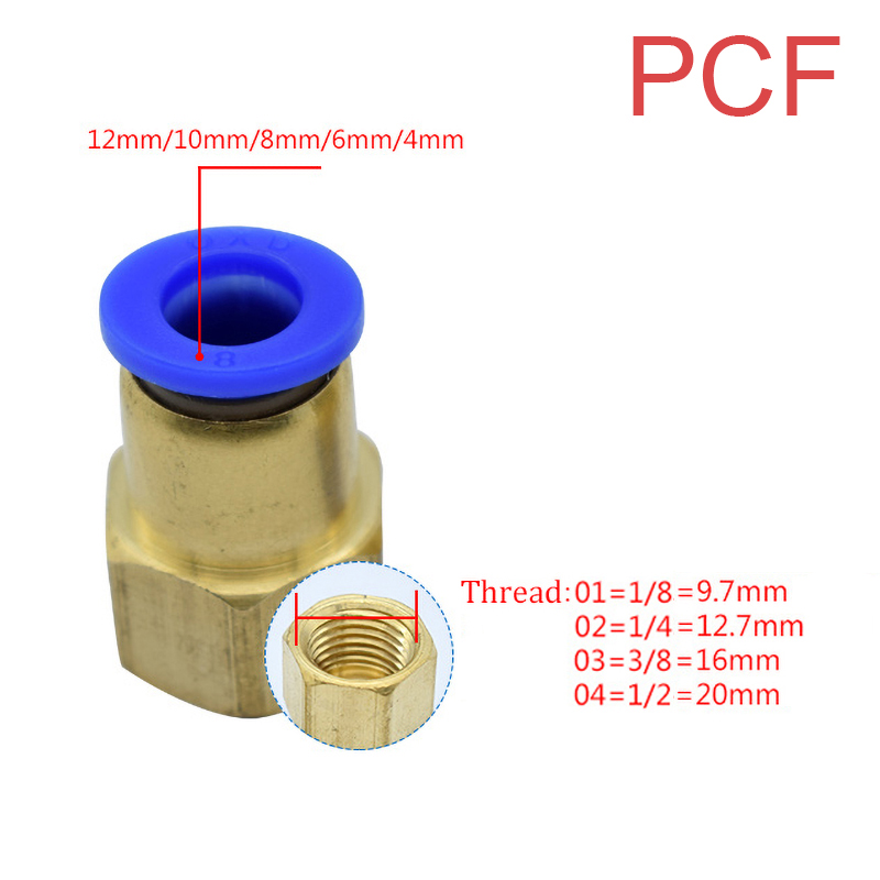 """Pneumatic PC/PCF/PL/PLF Pneumatic connector 4mm-12mm fitting thread 1/8"""" 1/4"""" 3/8"""" 1/2"""" air Thread Female Straight Air Fitting"""