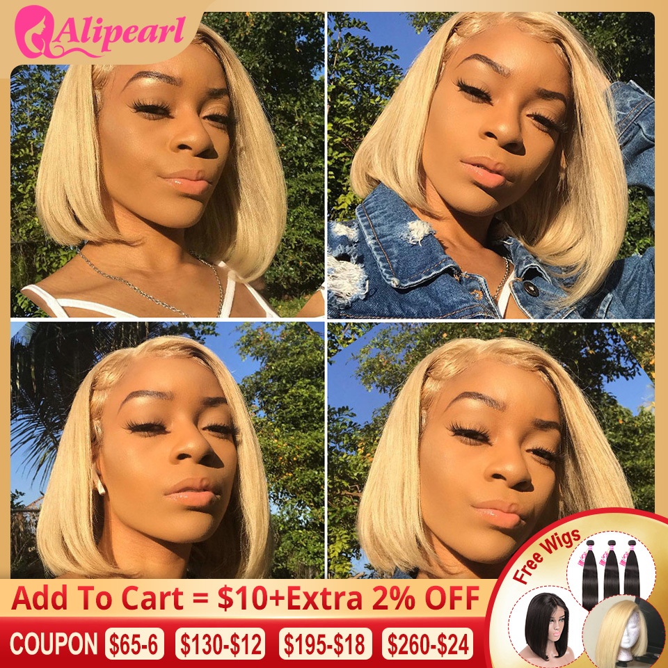 13x6 Short Bob Blonde Lace Front Human Hair Wigs Pre Plucked Brazilian Straight Bob Lace Front Wig For Black Women AliPearl Hair