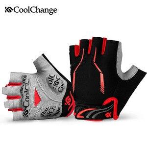Image 3 - CoolChange – gants de cyclisme pour hommes et femmes, demi doigt, élastique, respirant, coussinet de GEL, gants de vélo, vtt, été
