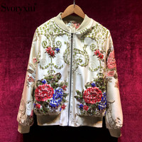 Svoryxiu High End Custom Autumn Winter Vintage Jacquard Jacket Coat Women's Long Sleeve Colorful Beading luxury Jacket Outwear