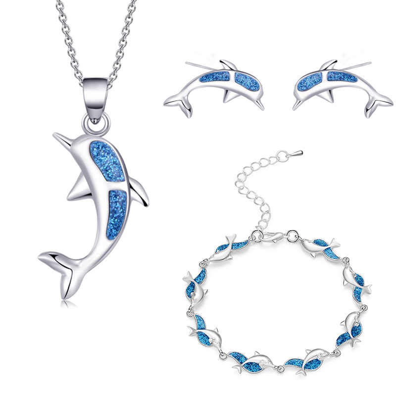 Charm Summer Beach Dolphin Bracelet Opal Sets For Women Girl Pendant Necklaces Silver Color Earrings & Ring Wedding Jewelry Gift