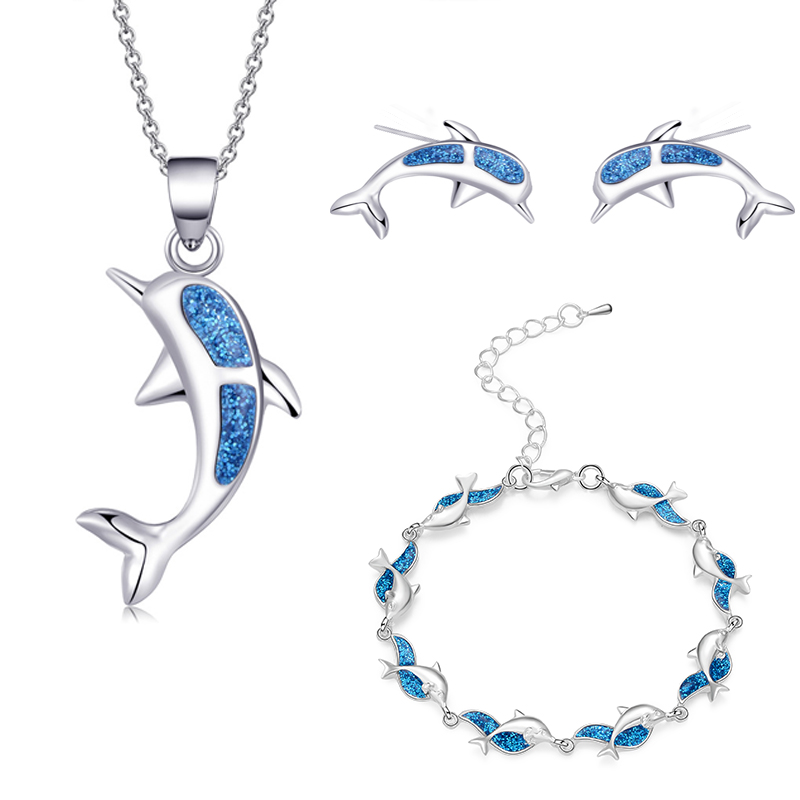 Charm Summer Beach Dolphin <font><b>Bracelet</b></font> Opal Sets For Women Girl Pendant <font><b>Necklaces</b></font> Silver Color <font><b>Earrings</b></font> & <font><b>Ring</b></font> Wedding Jewelry Gift image