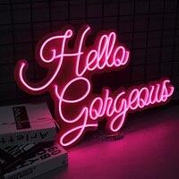 Hello Gorgeous Neon Sign Flex Led Text Neon Light Sign Led Text Custom Led Neon Sign Home Room Decoration Ins Party Wedding